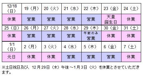 年末年始営業日程 大阪オフィス 2011-2012