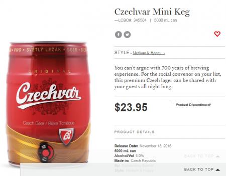 Czechvar Mini Keg LCBO